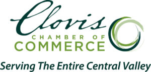 Shows the stylized text logo of the Clovis Chamber of Commerce with circle swirl shape.
